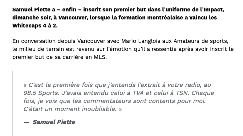 On comprend la JOIE de Samuel Piette...mais...